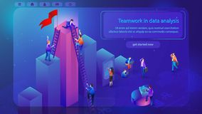 Financial Analytics Teamwork Vector Web Banner. Teamwork in Data Analysis Isometric Vector Web Banner with Working Business People Using Laptop, Climbing on Top vector illustration