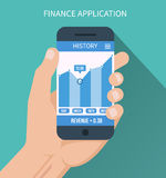 Financial application. Smart phone with business. Graph in hand. Forex index, economy report. Vector illustration Royalty Free Stock Image