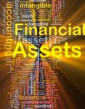 Financial assets background concept glowing. Background concept wordcloud illustration of financial assets glowing light Stock Photo