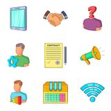 Financial assistance icons set, cartoon style. Financial assistance icons set. Cartoon set of 9 financial assistance vector icons for web isolated on white Royalty Free Stock Photos