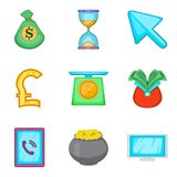 Financial assistance icons set, cartoon style. Financial assistance icons set. Cartoon set of 9 financial assistance vector icons for web isolated on white Stock Photo