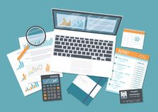 Financial audit, accounting, data analysis, report, research. Documents with report, magnifying glas. Financial audit, accounting, data analysis, report research stock illustration