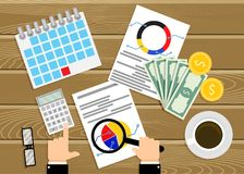 Financial audit, analysis of infographics vector Royalty Free Stock Images