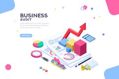 Financial Audit for Business Consultant Administration. Research of engineering financial audit. Business examiner of documents. Isometric report, consultant stock illustration