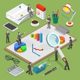 Financial audit flat isometric vector concept. People surrounded by some office stuff are investigating and discussing some financial documents Stock Image