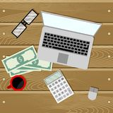 Financial audit on laptop. Business management, financial accounting. Vector illustration Royalty Free Stock Photography