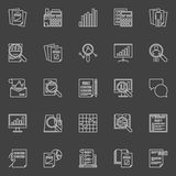 Financial audit line icons. Vector collection of analysis and auditing linear concept symbols on dark background Royalty Free Stock Photo