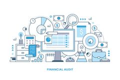 Financial Audit Line Illustration. Line style concept of financial audit, accounting, sales analytics . Abstract vector illustration with computer monitor vector illustration