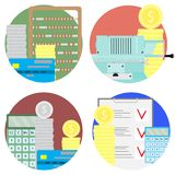 Financial audit and money account set icons. Audit profit and budget, balance analysis and planning. Vector illustration Royalty Free Stock Image