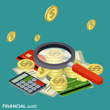 Financial audit, money control vector concept. Financial audit, money control flat isometric vector concept illustration Royalty Free Stock Image