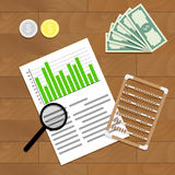 Financial audit vector. Finance paperwork report illustration Stock Images
