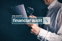 Financial audit web search bar glossary term Stock Photography