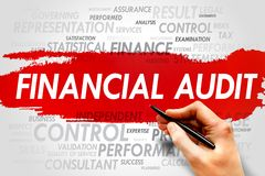 Financial audit. Word cloud, business concept Royalty Free Stock Photos