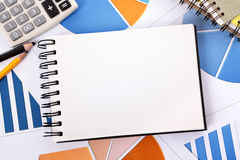 Financial accounts background blank notebook copy space Stock Photography