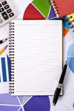 Financial accounts background blank notepad pen copy space Stock Photos