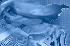 Financial background. In blues with money, buildings, map and pen Royalty Free Stock Images