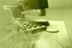 Financial background. In sepia with money, calculator, table and pen Royalty Free Stock Photos