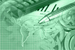 Financial background. In greens with map, calculator, graph and pen Royalty Free Stock Images