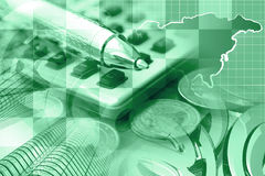 Financial background. In greens with money, calculator, map and pen Stock Photo