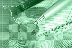 Financial background. In greens with money, map, table and pen Stock Image