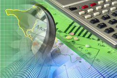 Financial background. With map, calculator, graph and buildings Royalty Free Stock Image