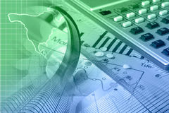 Financial background. With map, calculator, graph and buildings, in greens and blues Stock Photo