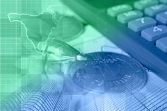 Financial background. With money, calculator, map and pen, in greens and blues Stock Photos