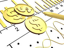 Financial background. With money, graph and pen, 3D illustration Royalty Free Stock Photos