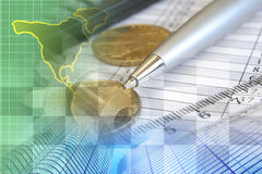 Financial background. With money, map, table and pen Stock Images
