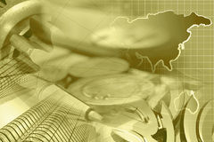 Financial background. In sepia with money, buildings, map and pen Stock Photos