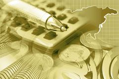 Financial background. In sepia with money, calculator, map and pen Royalty Free Stock Photo