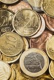 Financial Background - Top View of Euro Coins Royalty Free Stock Photo