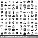 100 financial backing icons set, simple style. 100 financial backing icons set in simple style for any design vector illustration Royalty Free Stock Images