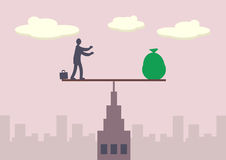 Financial Balance. A businessman and sack of money balancing on a fulcrum, which is on top of a tall building. A metaphor on financial balance Royalty Free Stock Photo