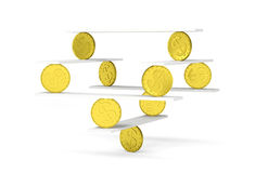 Financial balance with gold coins. Financial balance, stable equilibrium on isolated white background Stock Photography