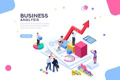 Financial Balance Value Managment Flat Isometric Banner. Balance financial value, management and administration concept. Characters, people engineering a plan Stock Photography