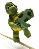 Financial Balancing Act. 3D Render of a tortoise balancing on a tight rope with a pound sign Royalty Free Stock Photos