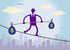 Financial Balancing Dollar. A businessman walking on a tightrope over a city, balancing two large bags of Dollar money. A metaphor about financial prudence Stock Photography