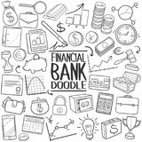 Financial Bank Traditional doodle icon hand draw set. A emblematic elements of Finances and Bank Doodle Style Hand Draw elements and objects set Royalty Free Stock Photography