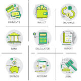Financial Banking Business Finance Planning Online Payment Icon Set. Vector Illustration Stock Images