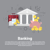 Financial Banking Business Web Banner. Flat Vector Illustration Stock Images