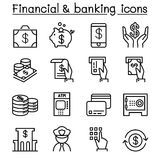 Financial & banking icon set in thin line style. Financial Royalty Free Stock Photos