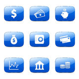 Financial Banking Square Vector Blue Icon. Design Set Stock Photography