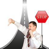 Financial bankruptcy creates obstacles in business Stock Image