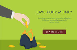 Financial banner with a  purse. Financial banner with hand putting a coin in a purse Royalty Free Stock Image