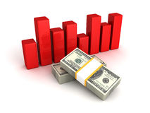 Financial bar chart diagram with hundred dollars packs Stock Photo
