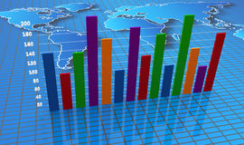 Financial bar charts and graphs. Bar chart with a diagram Royalty Free Stock Image