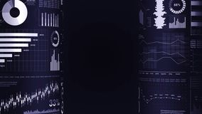 Financial bar charts and growing graphs. Business infographics with depth of field on dark blue background. Business success, grow