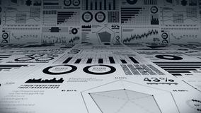 Financial bar charts and growing graphs. Business infographics with depth of field on light white background. Business success, gr royalty free illustration