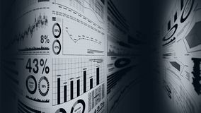 Financial bar charts and growing graphs. Business infographics with depth of field on light white background. Business success, gr